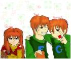 Ginny, Fred and George Weasley