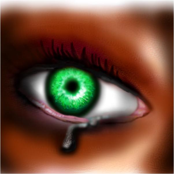 green crying eye